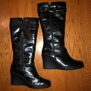 UGG black leather boots. Size 5